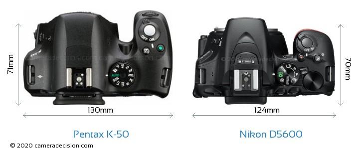 Pentax K-50 vs Nikon D5600 Camera Size Comparison - Top View
