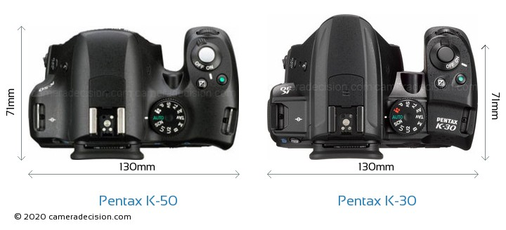 Pentax K-50 vs Pentax K-30 Camera Size Comparison - Top View