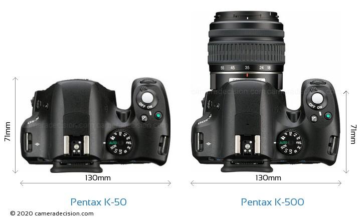 Pentax K-50 vs Pentax K-500 Camera Size Comparison - Top View