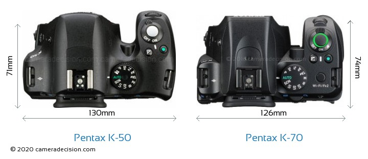 Pentax K-50 vs Pentax K-70 Camera Size Comparison - Top View