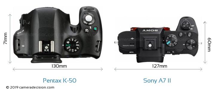 Pentax K-50 vs Sony A7 II Camera Size Comparison - Top View