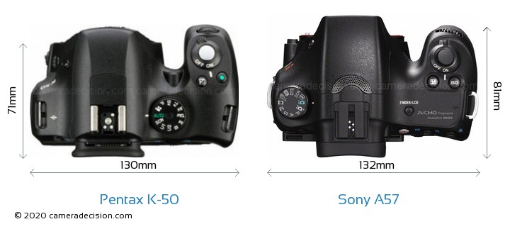 Pentax K-50 vs Sony A57 Camera Size Comparison - Top View