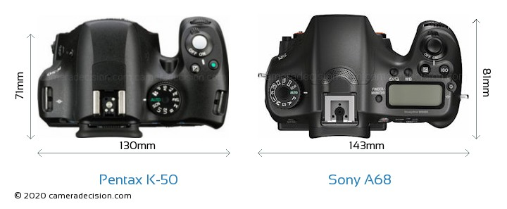 Pentax K-50 vs Sony A68 Camera Size Comparison - Top View