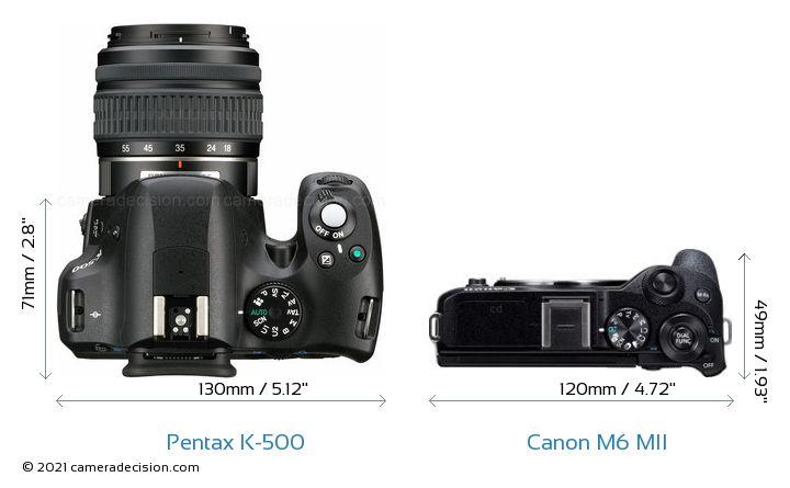 Pentax K-500 vs Canon M6 MII Camera Size Comparison - Top View