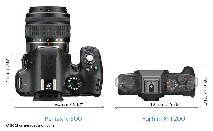 Pentax K-500 vs Fujifilm X-T200 Camera Size Comparison - Top View