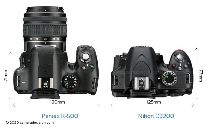 Pentax K-500 vs Nikon D3200 Camera Size Comparison - Top View