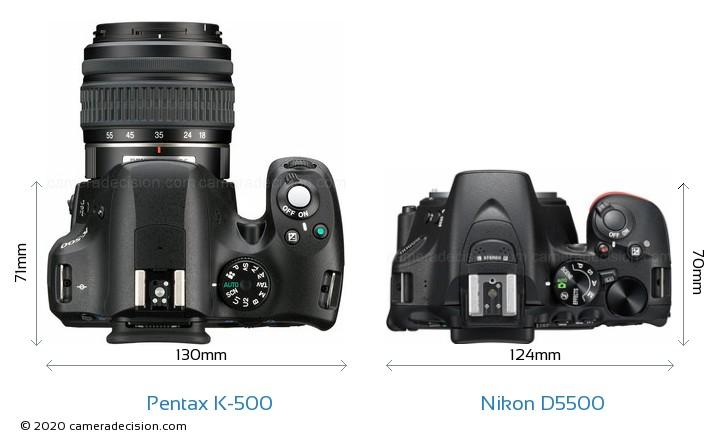 Pentax K-500 vs Nikon D5500 Camera Size Comparison - Top View
