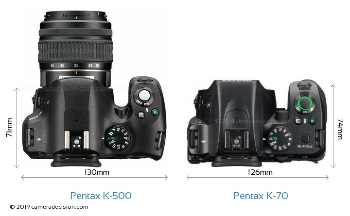 Pentax K-500 vs Pentax K-70 Camera Size Comparison - Top View