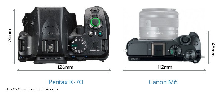 Pentax K-70 vs Canon M6 Camera Size Comparison - Top View