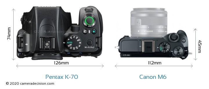 Pentax K-70 vs Canon M6 Camera Size Comparison - Top View