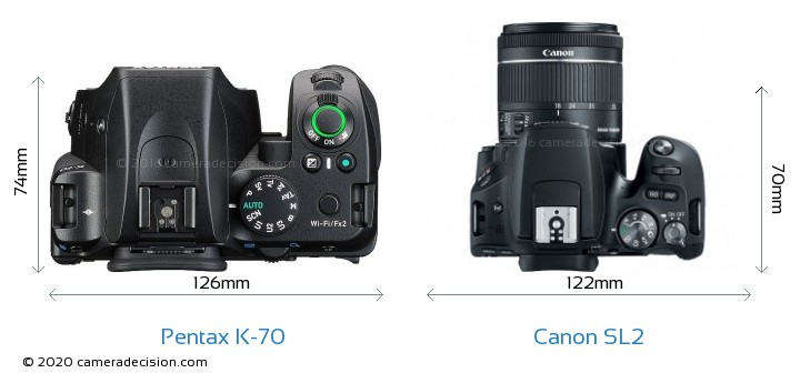 Pentax K-70 vs Canon SL2 Camera Size Comparison - Top View
