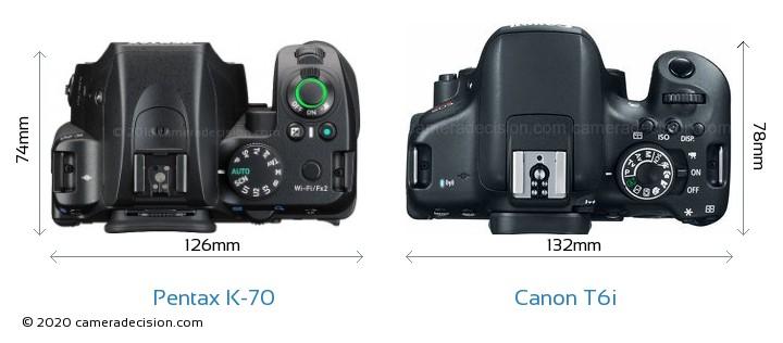 Pentax K-70 vs Canon T6i Camera Size Comparison - Top View