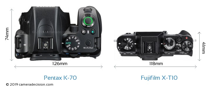 Pentax K-70 vs Fujifilm X-T10 Camera Size Comparison - Top View