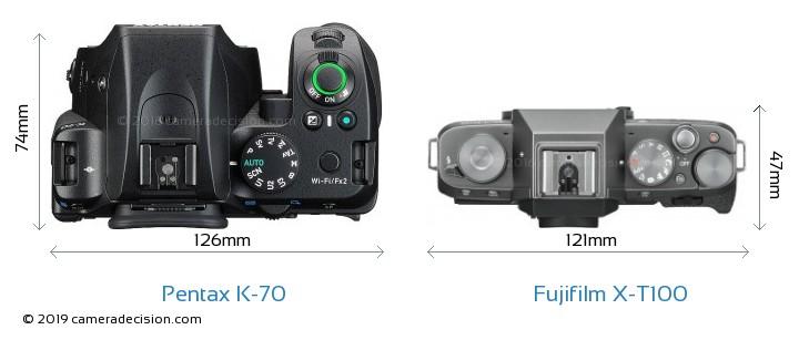 Pentax K-70 vs Fujifilm X-T100 Camera Size Comparison - Top View