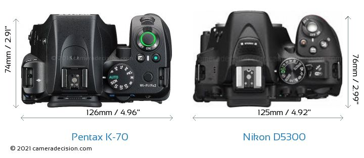 Pentax K-70 vs Nikon D5300 Camera Size Comparison - Top View