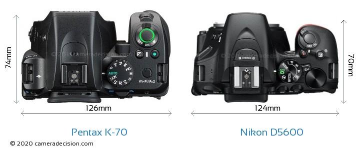 Pentax K-70 vs Nikon D5600 Camera Size Comparison - Top View