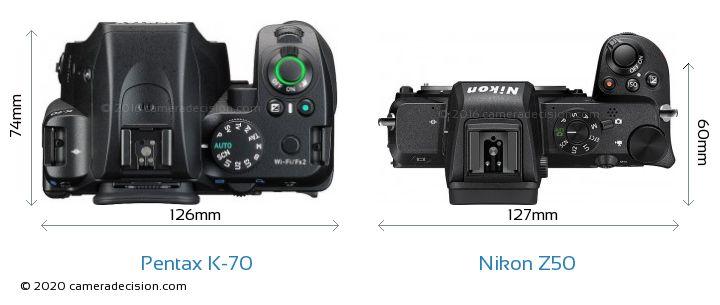 Pentax K-70 vs Nikon Z50 Camera Size Comparison - Top View