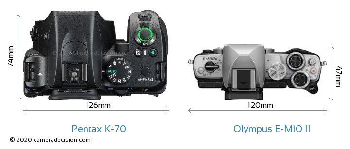Pentax K-70 vs Olympus E-M10 II Camera Size Comparison - Top View