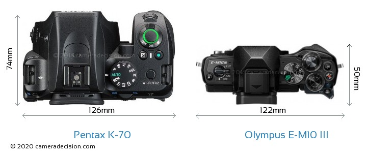 Pentax K-70 vs Olympus E-M10 MIII Camera Size Comparison - Top View