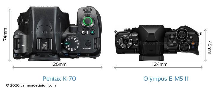 Pentax K-70 vs Olympus E-M5 II Camera Size Comparison - Top View