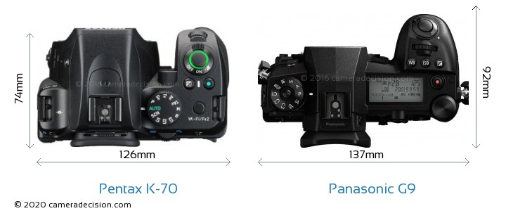 Pentax K-70 vs Panasonic G9 Camera Size Comparison - Top View