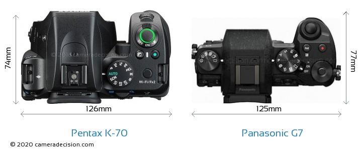 Pentax K-70 vs Panasonic G7 Camera Size Comparison - Top View