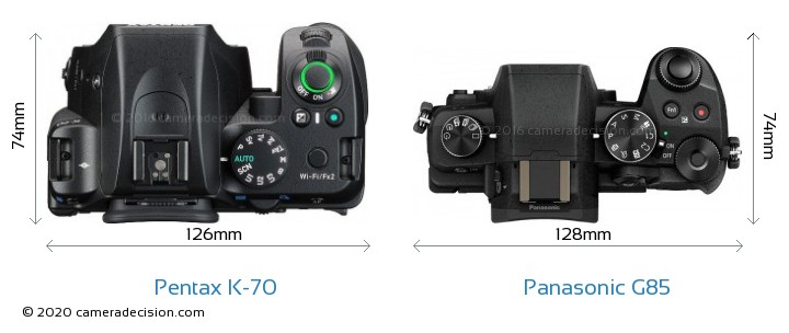 Pentax K-70 vs Panasonic G85 Camera Size Comparison - Top View