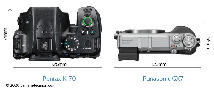 Pentax K-70 vs Panasonic GX7 Camera Size Comparison - Top View