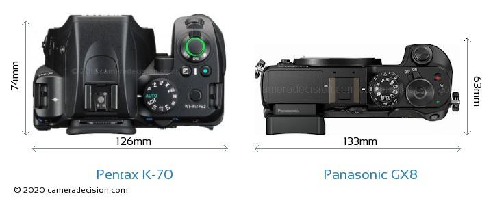 Pentax K-70 vs Panasonic GX8 Camera Size Comparison - Top View