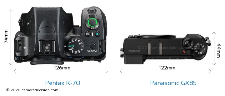 Pentax K-70 vs Panasonic GX85 Camera Size Comparison - Top View