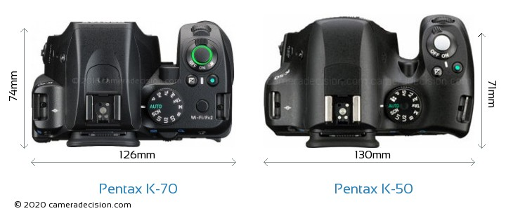 Pentax K-70 vs Pentax K-50 Camera Size Comparison - Top View
