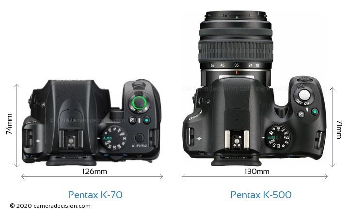 Pentax K-70 vs Pentax K-500 Camera Size Comparison - Top View