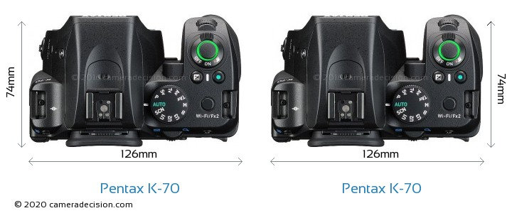 Pentax K-70 vs Pentax K-70 Camera Size Comparison - Top View