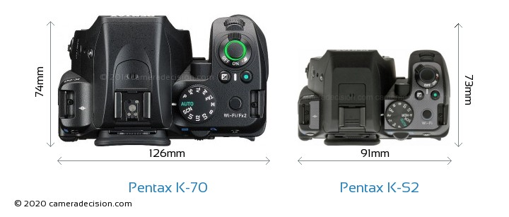 Pentax K-70 vs Pentax K-S2 Camera Size Comparison - Top View