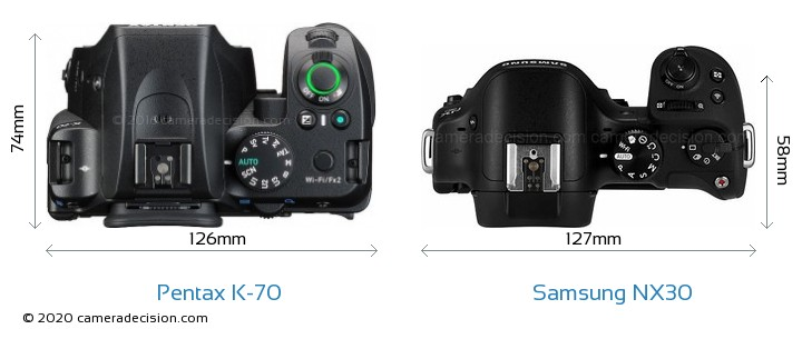 Pentax K-70 vs Samsung NX30 Camera Size Comparison - Top View