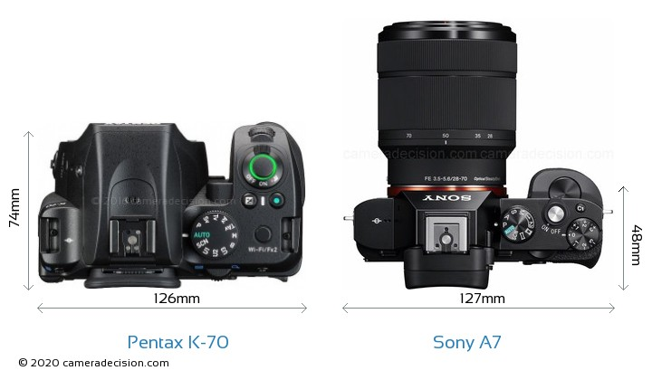 Pentax K-70 vs Sony A7 Camera Size Comparison - Top View