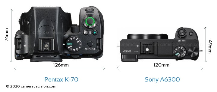 Pentax K-70 vs Sony A6300 Camera Size Comparison - Top View