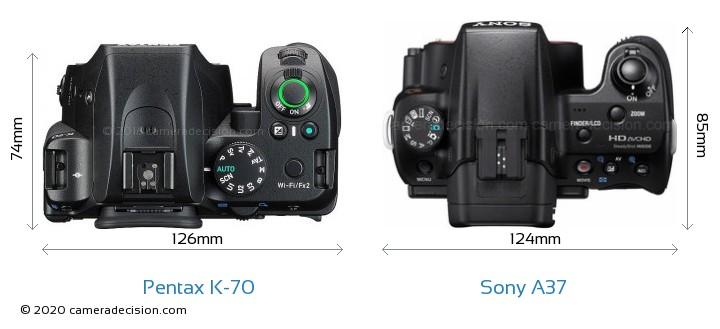 Pentax K-70 vs Sony A37 Camera Size Comparison - Top View