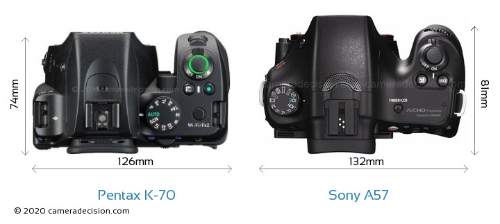 Pentax K-70 vs Sony A57 Camera Size Comparison - Top View