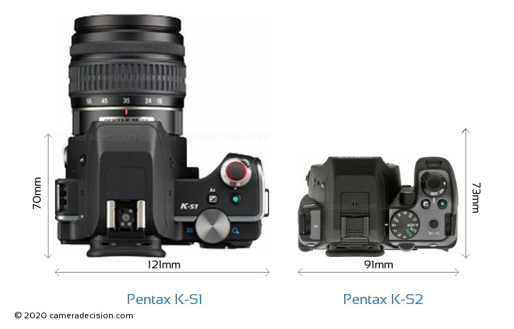 Pentax K-S1 vs Pentax K-S2 Camera Size Comparison - Top View