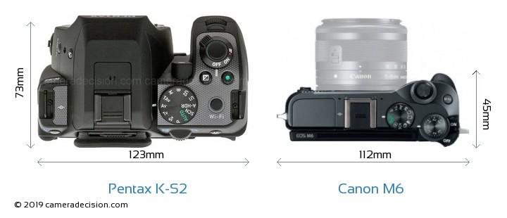 Pentax K-S2 vs Canon M6 Camera Size Comparison - Top View