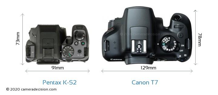 Pentax K-S2 vs Canon T7 Camera Size Comparison - Top View