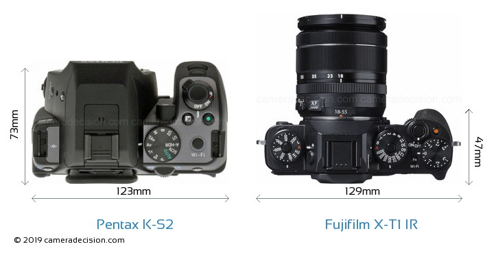 Pentax K-S2 vs Fujifilm X-T1 IR Camera Size Comparison - Top View