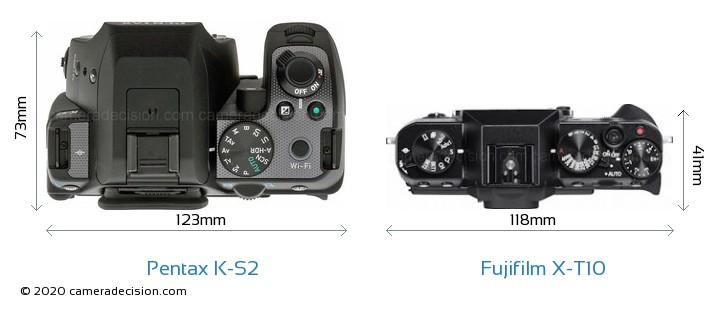 Pentax K-S2 vs Fujifilm X-T10 Camera Size Comparison - Top View