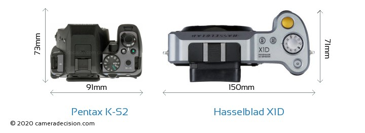 Pentax K-S2 vs Hasselblad X1D Camera Size Comparison - Top View