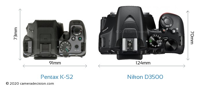 Pentax K-S2 vs Nikon D3500 Camera Size Comparison - Top View