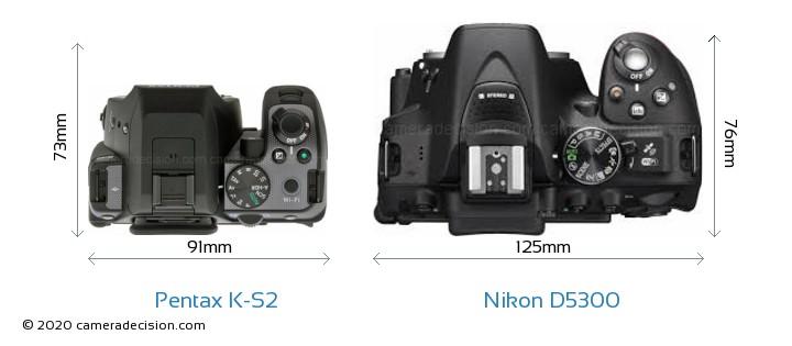 Pentax K-S2 vs Nikon D5300 Camera Size Comparison - Top View