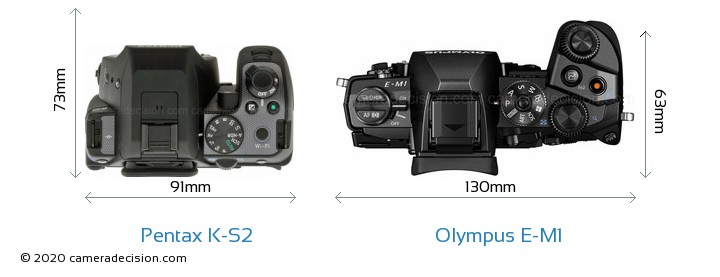Pentax K-S2 vs Olympus E-M1 Camera Size Comparison - Top View