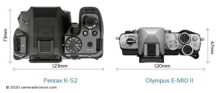 Pentax K-S2 vs Olympus E-M10 II Camera Size Comparison - Top View