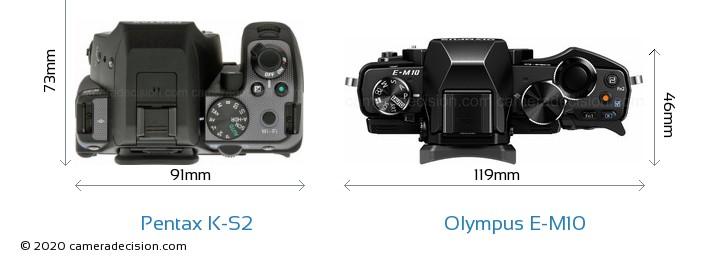 Pentax K-S2 vs Olympus E-M10 Camera Size Comparison - Top View